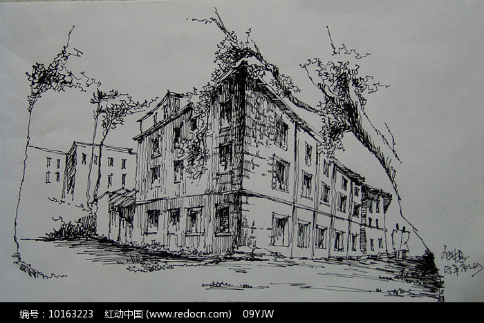 住宅建筑钢笔画