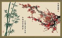 梅花  竹子中式背景墙