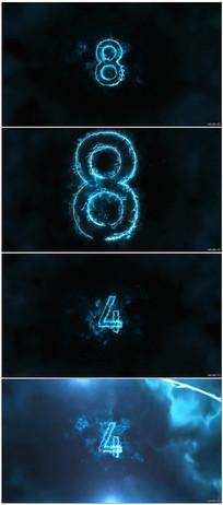 4k蓝色电流火焰倒计时背景视频素材