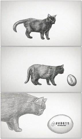 手绘猫咪LOGOAE视频模板