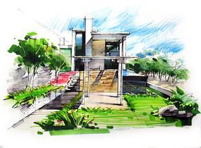 别墅住宅庭院手绘