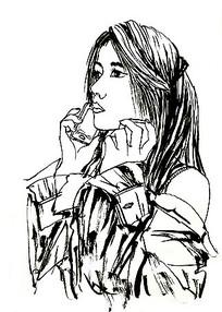 打电话美女插画