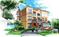 黄色中式住宅建筑手绘