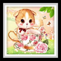 可爱卡通茶杯猫咪玫瑰花装饰画