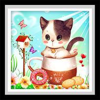 可爱卡通茶杯猫咪甜点装饰画