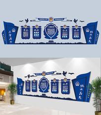 蓝色公安局警营文化墙