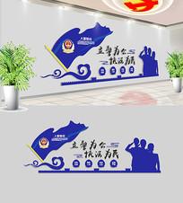蓝色警营文化墙设计
