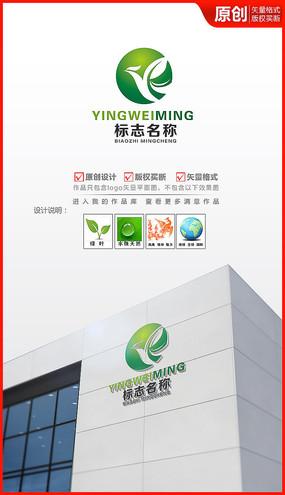 绿叶凤凰logo设计