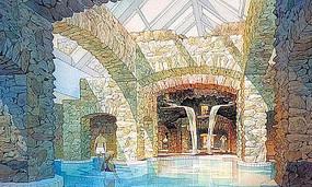 石头墙壁泳池手绘