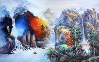 手绘水墨山水风景油画