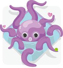 原创元素紫色小章鱼水池 AI