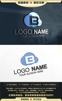 B字母云标志LOGO设计