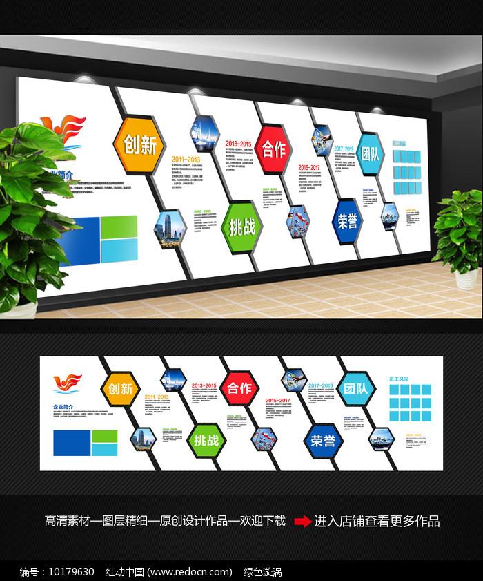 简约企业历程文化墙图片