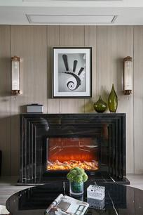 现代混搭风格的客厅壁炉