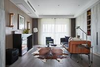 现代混搭风格的橘色系客厅