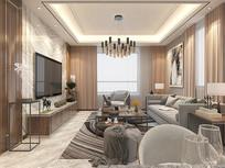 现代轻奢风格客厅设计3D模型