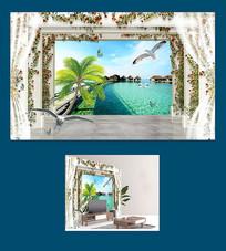 3D立体风景电视背景墙图片