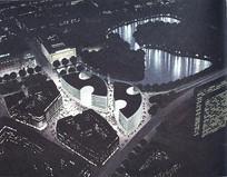 城市夜景建筑鸟瞰手绘