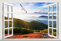 抽象3D窗外阳光森林背景墙