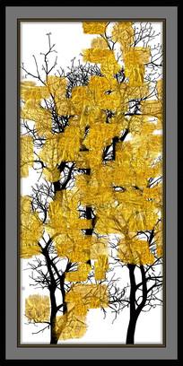 抽象黑白金色发财树装饰画