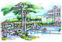 公园水景景观手绘