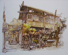 古镇木头房水粉画