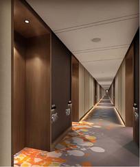 酒店客房走廊效果图