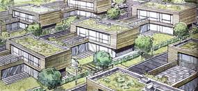 集装箱住宅建筑群透视