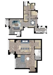 三室二厅跃层彩平图