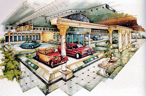 室内车展大厅手绘
