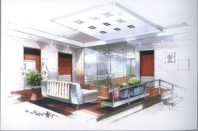 室内日式客厅手绘