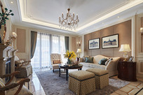 现代美式风格的客厅