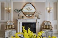 现代美式风格的客厅壁炉