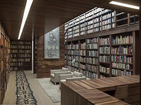 现代木色风格书店设计