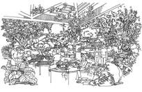 下午茶花园钢笔画