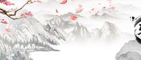 中国风水墨文化墙墙绘