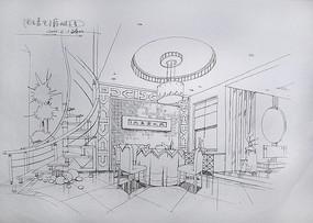 中式室内餐厅手绘
