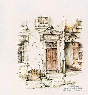 住宅大门彩色手绘