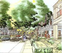 住宅小区景观手绘
