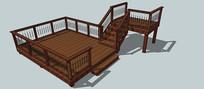 木制廊SU模型