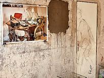 室内做旧大理石墙面装饰画