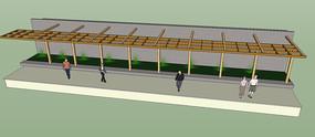 植物景墙长廊SU模型