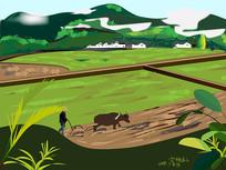 二十四节气惊蛰风景插画