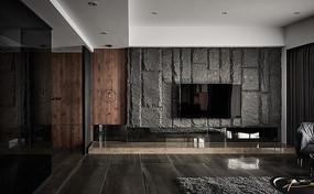 深色现代客厅电视处设计