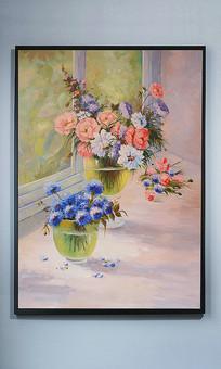田园窗静物花瓶艺术油画玄关