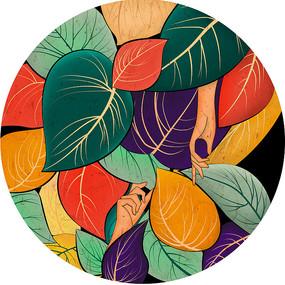 原创元素手绘树叶背景元素