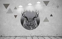 3D艺术复古猫头鹰背景墙