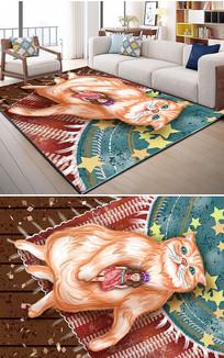 北欧时尚手绘猫女孩3D地毯画