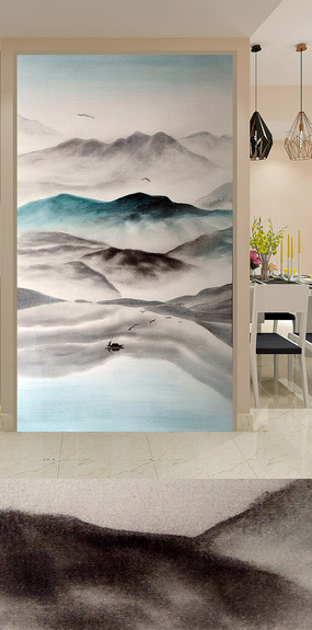 新中式水墨山水玄关背景墙