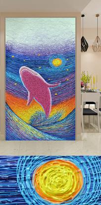 艺术线条深海鲸鱼玄关装饰画